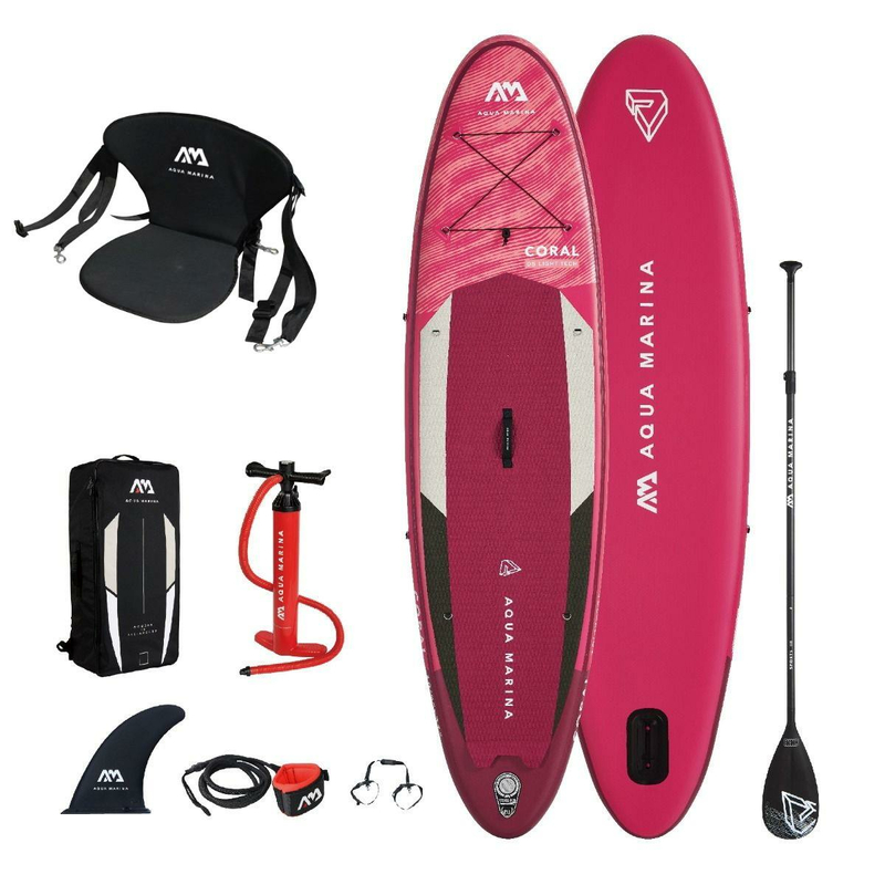 Aqua Marina Coral - Advanced All-Around iSUP, 3.1m/12cm, with paddle and safety leash Damen SUP inkl. Sitz